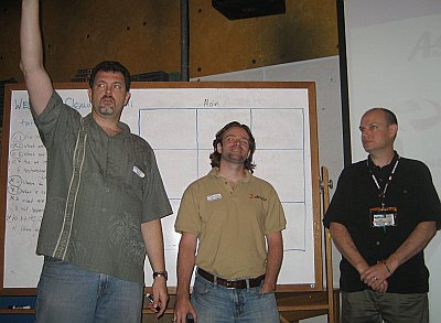(L->R) Dave Nielsen leads us through our unconference set up.  Canonical's Dustin Kirkland and hero-for-hire John West lend a hand.