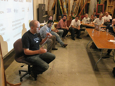 The Unpannel: Splunk representative, not sure, Cote, Dustin from Canonical, myself (credit Dave Nielsen)