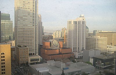 SF MoMA and the Bay Bridge thru my dirty hotel window.