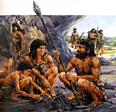 Obligatory cheesy cavemen community illustration.